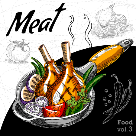 Grilled meat with vegetables in a hot pan. Hand draw vector illustration. Illustration