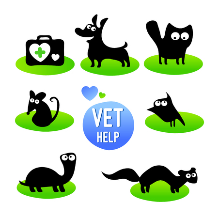Veterinary clinic. Pet vet help. Set of  funny animals cartoon character. Isolated on white background. Vector illustration. Flat icons silhouette.