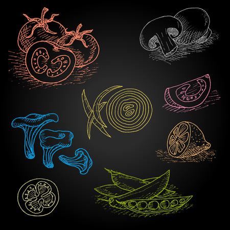 Set of color chalk drawn on a blackboard food, spices. Mushrooms, onions, tomato, lemon, peas. Hand drawn vector illustration.