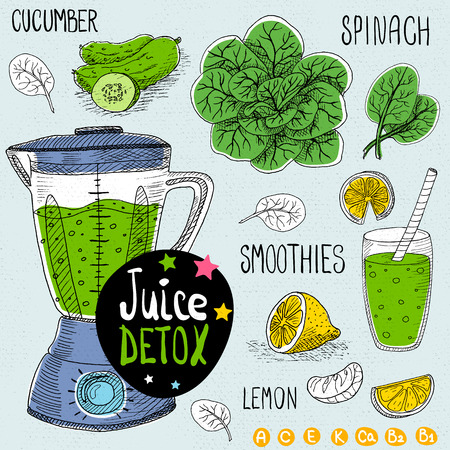Sketch Juice detox set. With illustration of ingredients, glass, stars, blender and vitamin Hand drawn doodle style. Smoothies, spinach, lemon, cucumber. Ilustrace