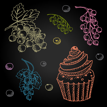 french board: Set hand-drawn food ingredients on chalkboard. Hand drawn vector illustration. Set with desserts cupcake, berries, currants, cream.