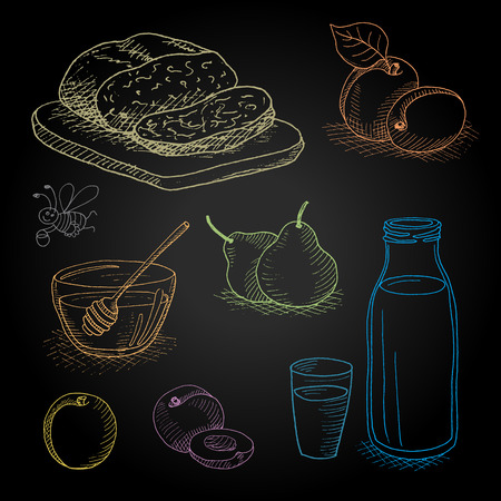 milk products: Set hand-drawn food ingredients on chalkboard. Hand drawn vector illustration. Set with elements fruit, bread, milk, honey, funny bee, honey spoon, peach, apricot, pear, bottle, glass