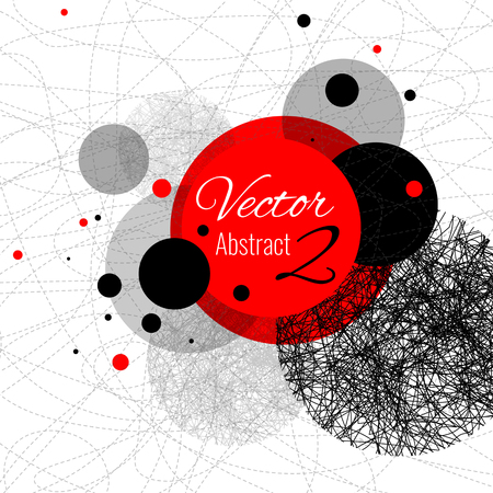 Abstract vector design rounds, line red, black