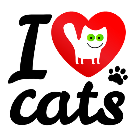 green eyes: i love my cat. Vector icon illustration. Print white cat with green eyes cartoon style in red heart. Illustration