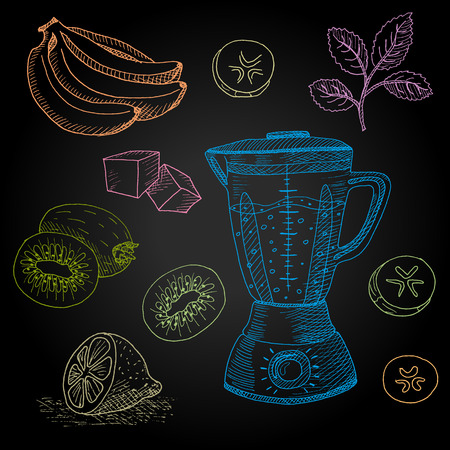 french board: Set hand-drawn food ingredients on chalkboard. Hand drawn vector illustration. Set with elements smoothies, mint, ice, smoothies maker, banana.