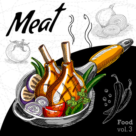 Grilled meat with vegetables in a hot pan. Hand draw vector illustration.