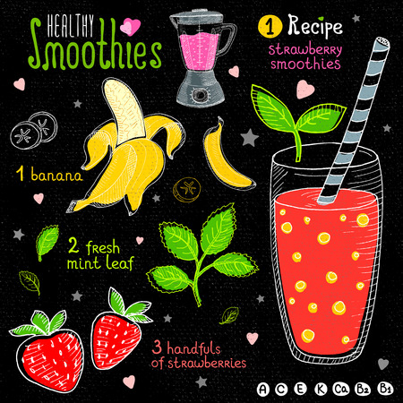 Healthy smoothie chalkboard set. With illustration of ingredients, glass, stars, hearts and vitamin. Hand drawn in sketch style. Strawberry smoothies, strawberry, banana, leaves mint.