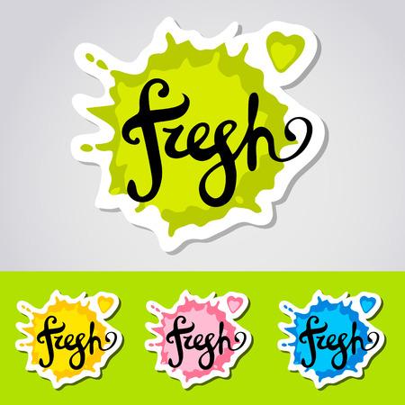 Fresh stiker, blot Word hand lettering. Handmade vector calligraphy.