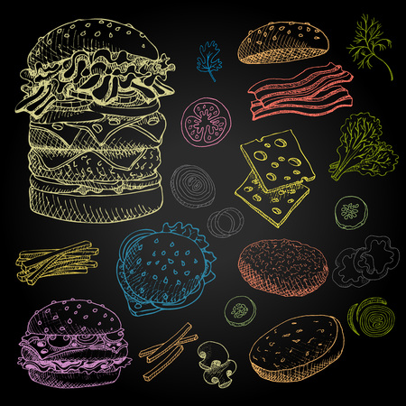 Set of color chalk drawn on a blackboard, food, spices Hand drawn, sketch vector illustration Fast food Hamburger, ingredient, mushrooms, tomato, pepper, onion, bacon, salad.