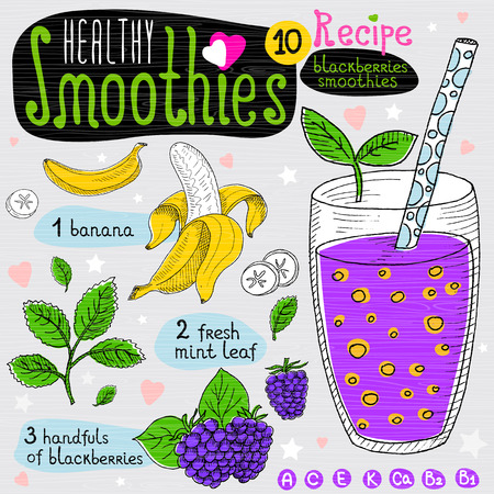blended: Healthy smoothie recipe set. With illustration of ingredients, glass, stars, hearts and vitamin. Hand drawn in sketch style. Blackberries smoothie. Banana, blackberries, mint. Illustration