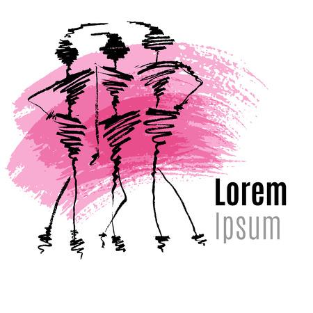 Sketch fashion illustration, logo design vector template, calligraphy. Elegant woman silhouette. Logotype concept icon. Brush stroke Illustration
