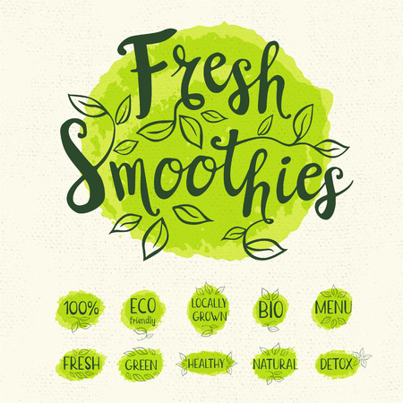 Fresh smoothies logo, lettering design, calligraphy logotype, leaf, set of stickers, green labels. Eco bio, locally grown, natural, detox, healthy, menu Hand drawn vector illustration