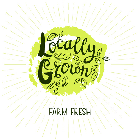 locally: Locally grow logo, farm fresh, lettering design, green, calligraphy logotype, leaf. Hand drawn vector illustration