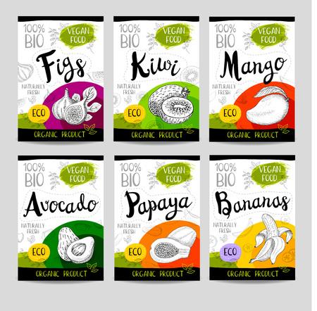 Set of colorful stickers in sketch style, food, spices, white background Figs, kiwi, mango, avocado, papaya, bananas Fruit, vegan, naturally, fresh, eco Hand drawn vector illustration