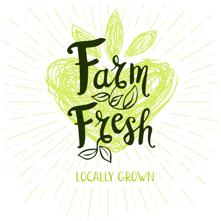 locally: Farm fresh logo, locally grown, lettering design, green, calligraphy logotype, leaf, heart. Hand drawn vector illustration Illustration