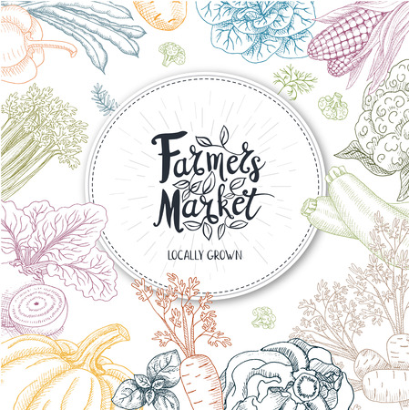 farmer market: Set of stickers in sketch style, food and spices. Farmer Market logo, lettering, calligraphy, leaf. Hand drawn vector illustration.