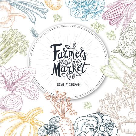 Zestaw naklejek w szkicu stylu, żywności i przypraw. Logo Farmer Market, litery, kaligrafia, liść. Ręcznie rysowane ilustracji wektorowych.