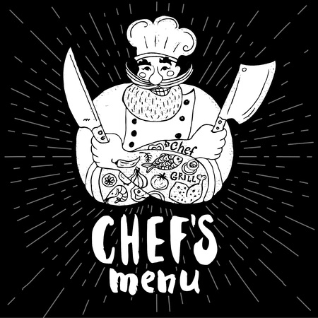 Chefs menu logo Chalkboard, background Chef, male, beard, mustache, knife, smile, cleavers, chefs hat, light rays Hand drawn vector illustration Illustration