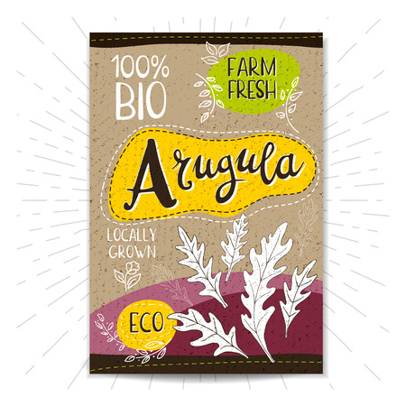 locally: Colorful label in sketch style, food, spices, cardboard textured . Arugula Spice. Bio, eco, , fresh. locally grown. Hand drawn vector illustration