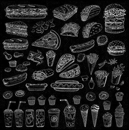 Big vector set, fast food. Sketch style. Hamburger, taco, burrito, chicken, potato, fries, sandwich, coffee, lemonade, ice cream, hot dog, ketchup, mustard, soda, beer. Hand drawn, blackboard. Ilustrace