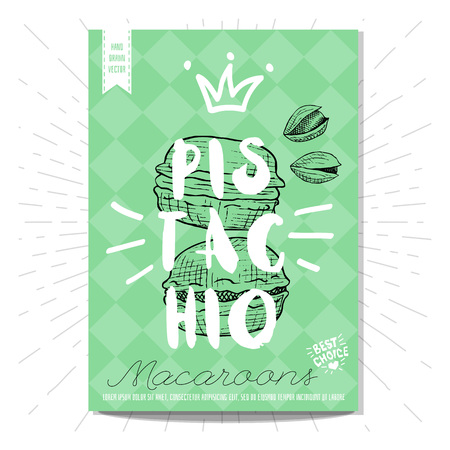 stiker: Colorful macaroons label. Macaroons, pistahio, heart, best choice. Retro background. Sketch style, posters, hand drawn vector.
