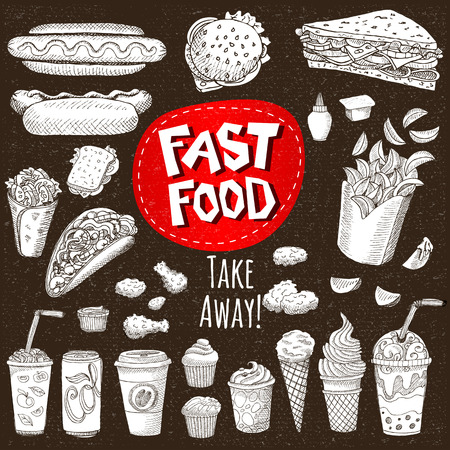 sandwich board: Vector set Sketch style Fast food Hamburger, taco, burrito, chicken, potato fries, sandwich coffee lemonade, ice cream, hot dog, ketchup, mustard, soda, beer Hand drawn design cardboard Illustration