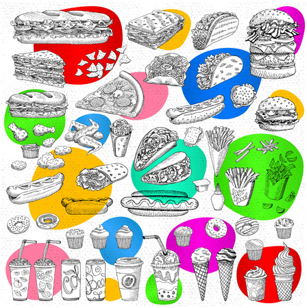 Big vector set, fast food Sketch style. Hamburger, taco, burrito chicken potato fries sandwich coffee lemonade, ice cream, hot dog, ketchup, mustard, soda, beer. Hand drawn design elements Ilustrace