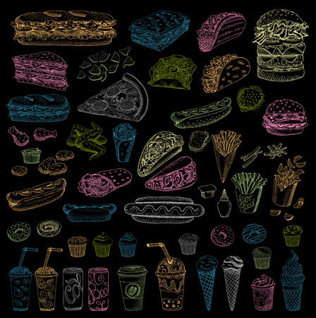 sandwich board: Big vector set fast food Color chalk Fast food Hamburger, taco, burrito, chicken, potato fries, sandwich, coffee, ice cream, hot dog, ketchup, mustard, soda, beer Hand drawn blackboard Illustration
