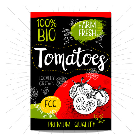 Colorful label in sketch style food spices, black background. Tomato. Vegetables. Bio, eco, farm, fresh. locally grown.