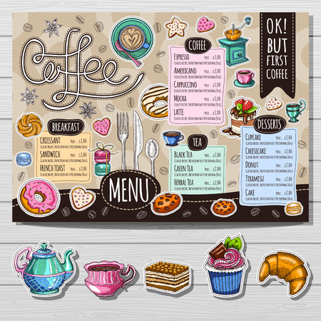 Coffee restaurant brochure vector, coffee shop menu design, sketch style. Coffee, desserts, tea, breakfast, cakes, donut. Lettering cup logo. Illustration