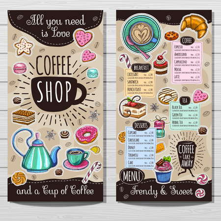 Coffee shop brochure vector, cafe menu design, sketch style. Coffee, desserts, tea, breakfast, cakes, donut, croissant, quote, coffee take away. Lettering, cup, logo, trendy. Hand drawn vector. Vettoriali