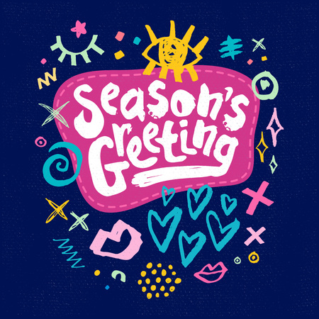 Seasons greeting sketch style christmas lettering greeting cards seasons greeting sketch style christmas lettering greeting cards multicolor doodles hearts stars eyes lips m4hsunfo