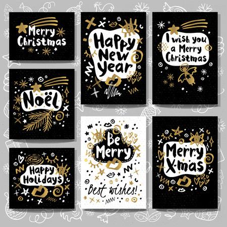 크리스마스와 새 해 글자 인사말 카드입니다. 스톡 콘텐츠 - 89002364