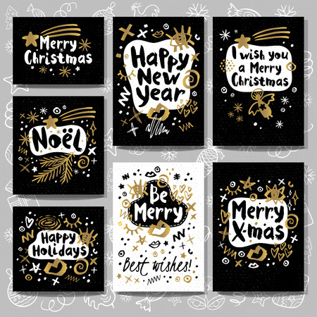 Christmas and New Year lettering greeting cards.