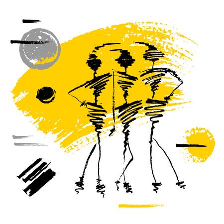 Fashion poster trendy art design. Yellow black white grunge, ink, paint, brushstrokes, painting. Girl, Model, hipster, beautiful. Hand drawn vector illustration. Stock Illustratie