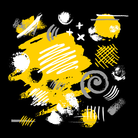 Abstract poster trendy art design. Yellow black white grunge, ink, paint, brush, strokes, painting. Style, beautiful, decoration. Hand drawn vector illustration.