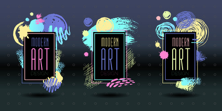 Modern art brush stroke frame vector abstract dynamic chalkboard graphics. Colorful elements design business cards fashion invitations gift brochures. Hand drawn vector illustration. Illustration