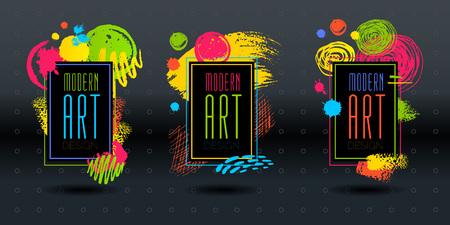 Modern Art brush stroke frame vector. Hand drawn vector illustration  イラスト・ベクター素材
