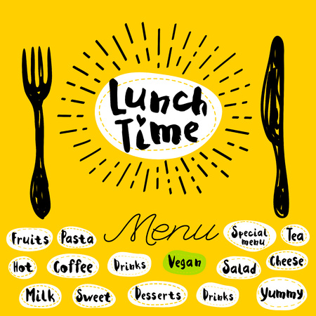 Lunch time, fork, knife, menu. Lettering, calligraphy, icon, sketch style, light rays, heart, pasta, vegan, tea, coffee, deserts, yummy, milk, salad hand drawn vector illustration.