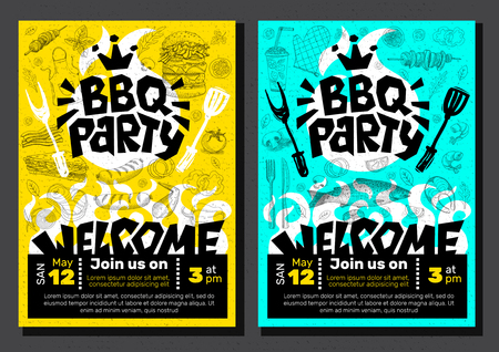 BBQ party Food poster Barbecue template menu invitation flyer design elements food. Hand drawn vector illustration