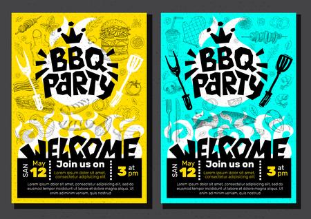 BBQ party Food poster Barbecue template menu invitation flyer design elements food. Hand drawn vector illustration Archivio Fotografico - 96173951