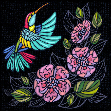 Embroidery Hummingbird, palm tree leaves, flowers tropical art patch. Fashionable embroidery tropical summer background. Template design clothes, t shirt. Hand drawn vector. Illustration