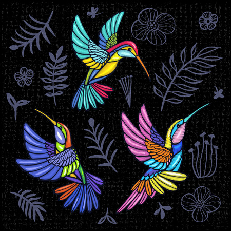 Embroidery Hummingbird, palm tree leaves, flowers tropical art patch. Fashionable embroidery tropical summer background. Template design clothes, t shirt. Hand drawn vector. Stock Illustratie