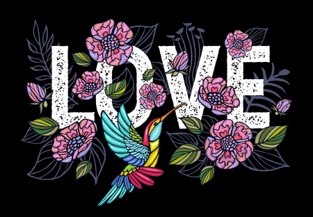 Colibrí bordado, amor, hojas de palmera, parche de flores de arte tropical. Fondo de verano tropical bordado de moda. Ropa de diseño de plantilla, camiseta. Vector dibujado a mano. Ilustración de vector