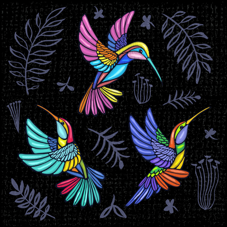 Embroidery Hummingbird, palm tree leaves, flowers tropical art patch. Fashionable embroidery tropical summer background. Template design clothes, t shirt. Hand drawn vector. Иллюстрация
