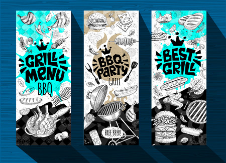 Barbecue banner posters grilled food, sausages, chicken, french fries, steaks, fish, grill BBQ party. Set trendy sketch style cards typography chalkboard. Hand drawn vector illustration. Vetores