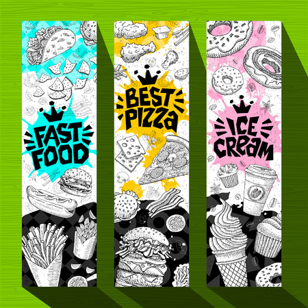 Fast food colorful modern banners set labels. Fast food. Best pizza. Ice cream. Hot dog, hamburger, coffee, donuts, nuggets, tacos. Bright cool food sketches composition