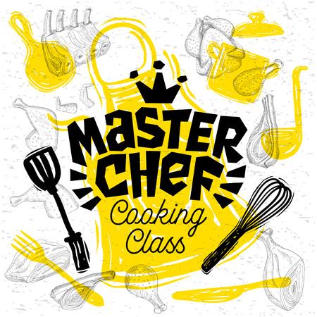 Schizzo stile master chef cooking class lettering. Segno, logo, emblema. Padella, pentola, coltello, forchetta grembiule carne di pollo costolette bistecche, ali. Illustrazione vettoriale disegnato a mano Logo