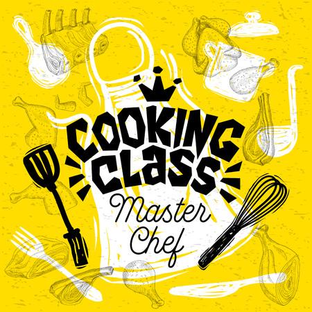 Schetsstijl chef-kok kookles belettering. Teken, logo, embleem. Pan, pot, mes, vork, schort kippenvlees ribben steaks vleugels. Hand getekende vector illustratie.