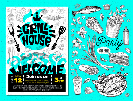 Grill House Party BBQ food poster. Grilled food, meat fish vegetables grill appliance fork knife chicken shrimps lemon spice. Hand drawn vector illustration. Illusztráció